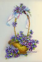 Embroidered picture Violets in the basket by TetianaKorobeinyk