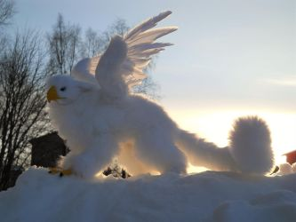 Frosty the Posable Snow Gryphon OOAK Art doll by HedaMiu