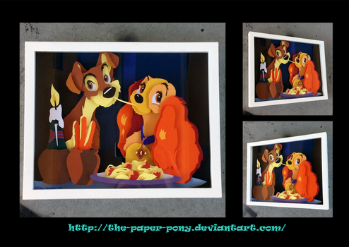 Commission: Lady and the Tramp Shadowbox by The-Paper-Pony