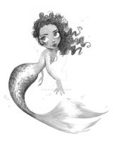 Curly Hair Mermaid - Ink by DylanBonner