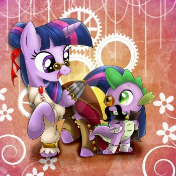 Steampunk 2.0: Twilight and Spike [Finished] by 0CrimsonAffinity0