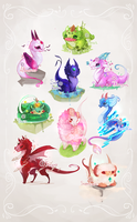 [CLOSED] Smol Dragon-types adoptables by miloudee