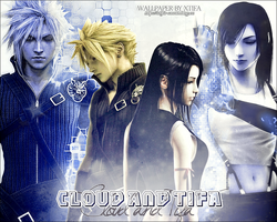 Cloud and Tifa FFVII:AC wallpaper by ladylucienne