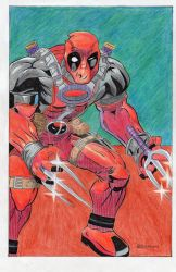 deadpool,,,done in colored pencils and pen... by ronbermas