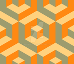 Geometric Pattern: Cube Inset: Orange