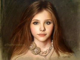 Chloe Grace Moretz Full Color Pastel Portrait by theportraitart