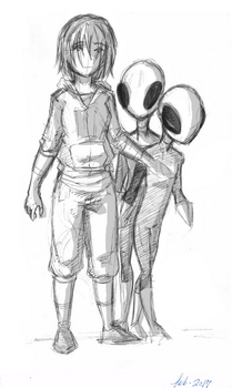Sketch - Cass and aliens by Dark-Eyed-Junco