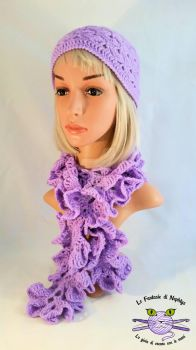 Lilac Ruffle Scarf + Matching Hat by lefantasiedinephtys