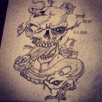 Skull n Snake tattoo by jirjirjir
