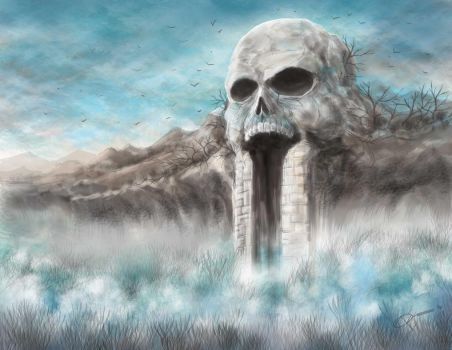 Speed Painting - skull mountain by DAA-TRUTH