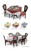 MMD Elegant dining set with food by Hack-Girl