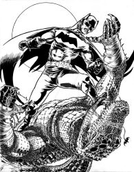 Batman Vs Killer Croc by meritcomics