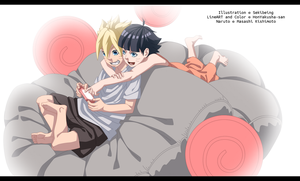 Boruto and Himawari - simple colouring by HonYakusha-san