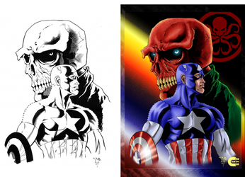 Captain America and Red Skull - B4 and After color by criv215