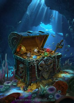 Pirate`s Chest with Treasure by Azot2017