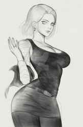 dragon ball android 18 fanart sketch by thaumazo