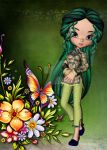 Asian Girl with Beautiful Flowers Greeting Card 7 by RedHeadFalcon