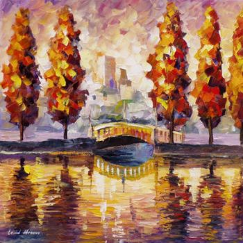 Trees By The River by Leonid Afremov by Leonidafremov