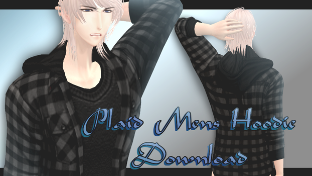 Plaid Mens' Hoodie - MMD Download by Shiremide1