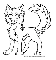 Free Canine Lineart (Ms paint friendly) by applecarrots