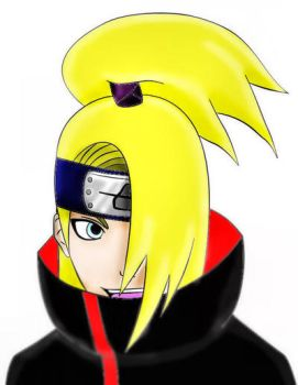 Deidara lineart colored by MarieanneMcKassion