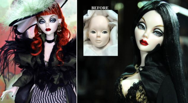 Gothic Evangeline Ghastly resin doll repaint by noeling