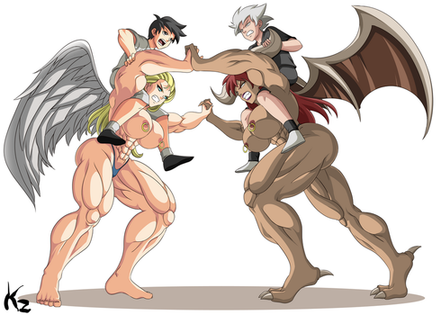 Commission - Muscle Girls Fighting by KazBR