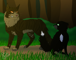 Tigerclaw and Ravenpaw by RiverBelle