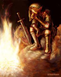 Link sitting by the fire by lill