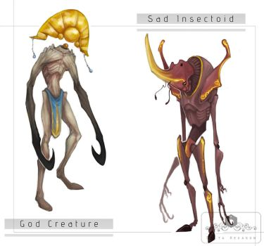 [Adopts - Open] God Creature and Sad Insectoid by Delta-Hexagon