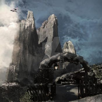 Gateway to Winter matte painting concept by designdiva3