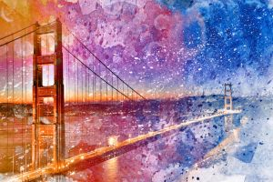 Golden Acrylic Gate Bridge by somadjinn