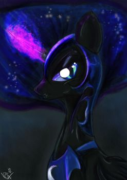 Nightmare moon sketch coloured by noideasfornicknames