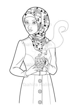 Turkish Lady with Tea - Coloring Page by IReallyWannaKnow
