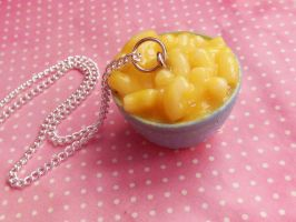 macaroni and cheese polymer clay necklace by ScrumptiousDoodle