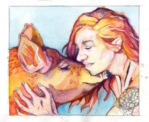 A woman and her pig by BananazGorilla