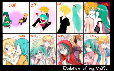 Evolution of how I draw LenMiku by HaiperKun