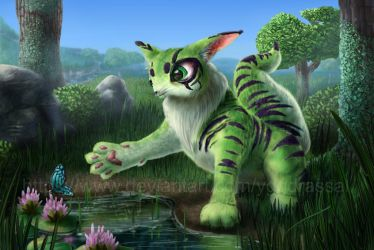 Fluffy Green Cat-Like Creature by Yggdrassal