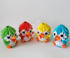 3D Origami Colorful Penguins by designermetin