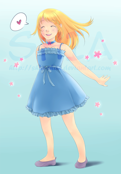 girl in blue dress 2014 ver by Shia-chan