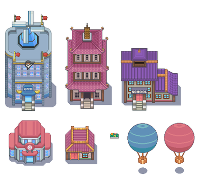 Violet City Tileset by WesleyFG