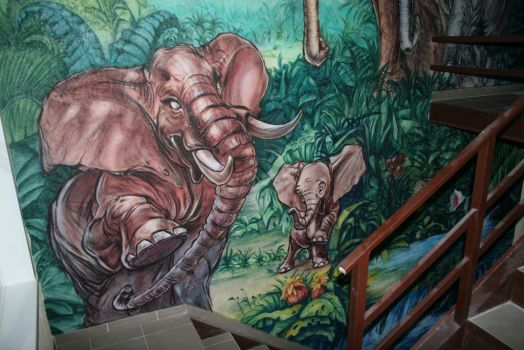 jungle elephant family mural2 by hotabych