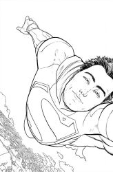 Action Comics #36 cover line work by AaronKuder