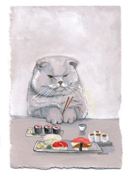 Sushi Cat- the temptation by BlueBirdie