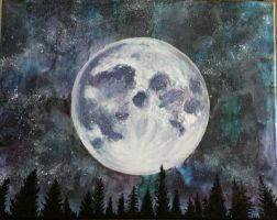 Original Acrylic The Moon Overlooking the Forest by TheJennaBrown