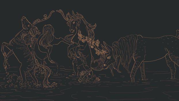 The Creature in the Swamp Lineart by MSSeymour