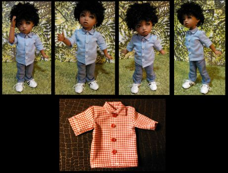BJD outfit: Gingham Shirt And Jeans by Kaos-Ninja9