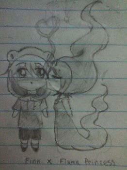 Chibi Finn x Flame Princess by MidnightGlade94