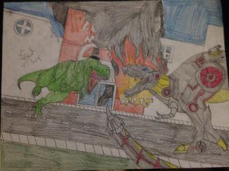 Grimlock Vs BBtrex by Mechagodzilla604