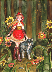 red riding hood in steampunkwood by MessiahDeath